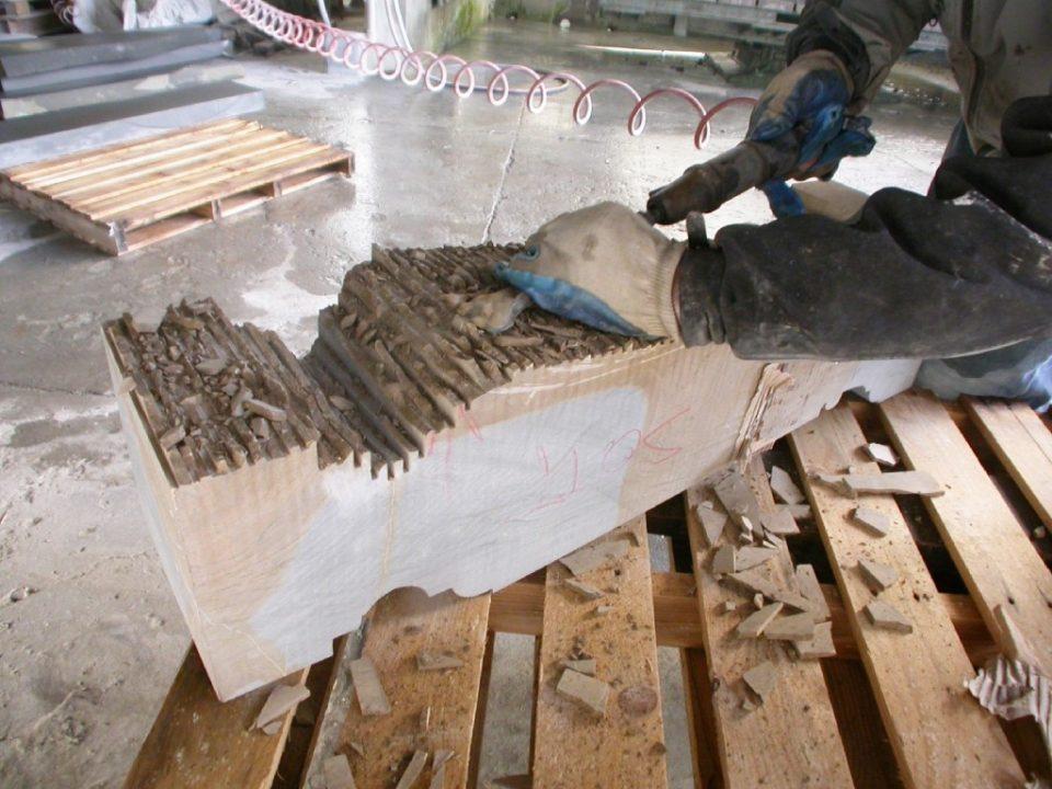 Restauro Campanile San Lorenzo - preparazione capitelli